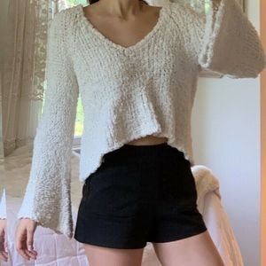 Free People White Knit Bell Sleeve Crop Sweater